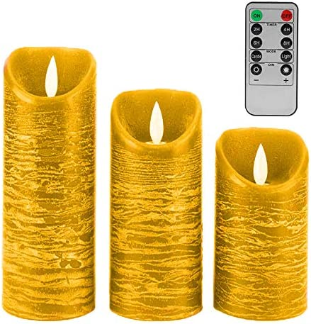Flameless Candles Battery Operated LED Candle Sets with Remote Control,Light for Seasonal Christmas Festival Celebration,Cycling 24 Hours, 4 5 6 Pack of 3 Gold