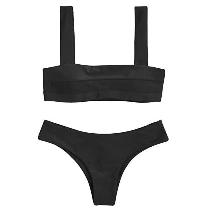 55d8405e322bd ZAFUL Women's Wide Straps Padded Bandeau Bikini Set (S, Black). Roll over  image to zoom in