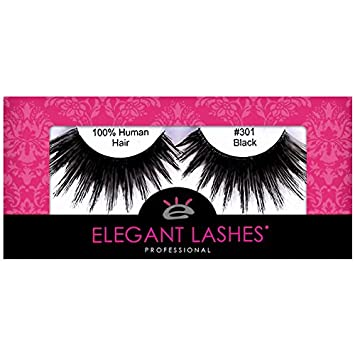 0c55bb5fbce Amazon.com : Elegant Lashes #301 Thick Long Black Drag Queen Human Hair  False Eyelashes for Drag Halloween Burlesque Dance Rave Costume : Fake  Eyelashes And ...