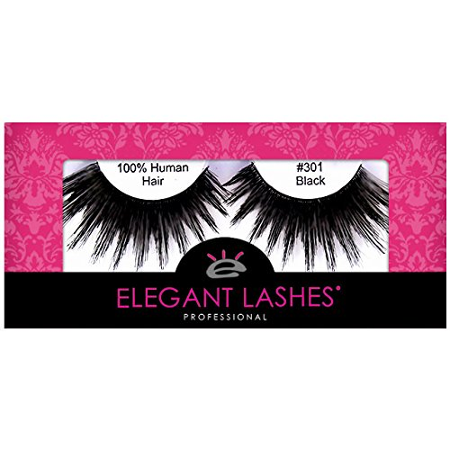 Elegant Lashes #301 Thick Long Black Human Hair False Eyelashes for Drag Queen Halloween Dance Rave (Showgirl Makeup For Halloween)