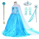 Snow Queen Princess Elsa Costumes Birthday Party Dress Up For Little Girls with Wig - Crown - Mace - Gloves Accessories 3-12 Years
