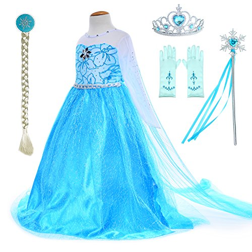 Snow Queen Princess Elsa Costumes Birthday Party Dress Up For Little Girls with Wig,Crown,Mace,Gloves Accessories 6T 7 (130cm)