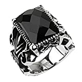 Paula & Fritz Stainless Steel Ring Surgical Steel 316L Gothic Ring Black Onyx Stone - Size = 61 (19.4) - [R-Q5196-10]