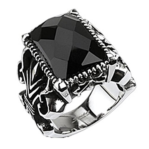 Paula & Fritz Stainless Steel Ring Surgical Steel 316L Gothic Ring Black Onyx Stone - Size = 66 (21.0) - (Faceted Onyx Ring)