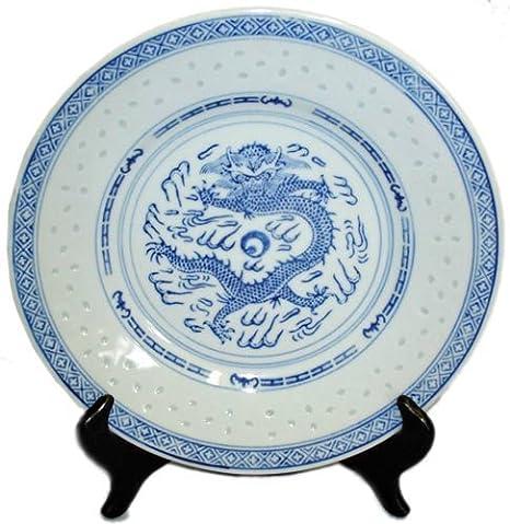 Traditional Dragon Blue and White Rice Grain Patterned Porcelain Plates - 8\u0026quot;D  sc 1 st  Amazon.com & Amazon.com   Traditional Dragon Blue and White Rice Grain Patterned ...