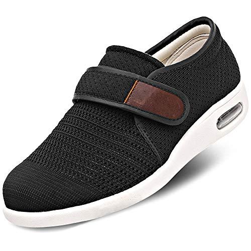 Orthoshoes Mens Edema Shoes Mesh Breathable Lightweight Walking Sneakers Air Cushion for Diabetic, Elderly, Swollen Feet, Plantar Fasciitis, Comfort - Black, 11 (Extra Extra Wide Shoes For Swollen Feet)