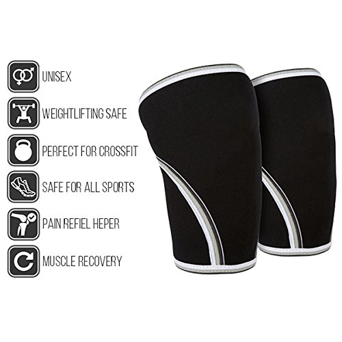 Knee Compression Sleeves By PureGreen - Breathable Unisex Neoprene Knee Wraps For Weightlifting, Cross-fit & Sports, Flexible & Supportive Knee Protection Brace, Promotes Pain Relief & Muscle Recovery