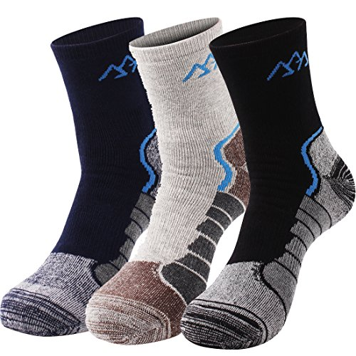Men's Hiking Socks Thick Warm Trekking Running Outdoor Sport Cotton Crew Socks 3 Pairs(<9 US size) - Jenny Golf Socks