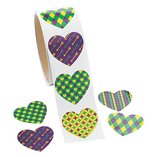 Gras Mardi Stationery - Fun Express - Mardi Gras Heart Shaped Roll Sticker for Mardi Gras - Stationery - Stickers - Stickers - Roll - Mardi Gras - 100 Pieces