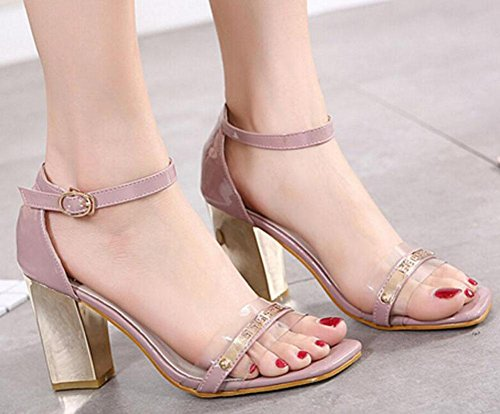 Plastic Court Heeled Open High Splicing GLTER Sandals Transparent Strap Head Women Toe Square Metal Hollow Pink Ankle Shoes Heels Shoes Pumps Pumps The 4qqR6wY