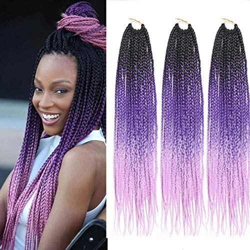 Crochet Lavender - 6packs 24inches Ombre Senegalese Twist 3x Box Braids Crochet Hair Extensions 22strands/pack Top Quality Japanese Low Temperature Flame Retardant Fiber (24