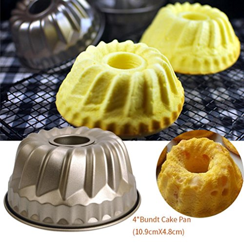Tuscom Non-Stick Bakeware Mold,10.8×4.9CM,Classic Pineapple Chiffon Bakeware Mold Carbon Steel Fluted Cake Baking Pan Tool (Gold)