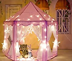 """Kids Indoor Princess Play Tent,VicPow Girls Outdoor Castle Playhouse for Childs Toddlers Gift/Presents,55""""x..."""