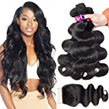 RECOOL Brazilian Hair Body Wave Bundles With Closure 8a Virgin Human Hair Extensions for Black Women Natural Color Cheap Bundles(16 18 20 with 16 Free Part)