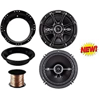 98-13 Harley Speaker Bundle: 2x of Kicker 6.5 Inch 480 Watts 2-Way DS-Series Black Car Stereo Coaxial Speakers + Speaker Mounting Rings For Motorcycles + Cache 40 Ft 16G Speaker Wire