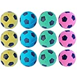 PetFavorites Foam/Sponge Soccer Ball Cat Toy Best Interactive Cat Toys Ever Most Popular Independent Pet Kitten Cat Exrecise Toy balls for Real Cats Kittens, Soft/Bouncy/Noise Free. (12 Pack)