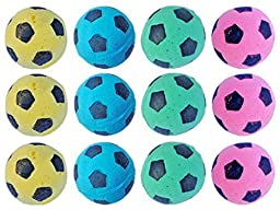 PETFAVORITES™ Foam/Sponge Soccer Ball Cat Toy Best Interactive Cat Toys Ever Most Popular Independent Pet Kitten Cat Exrecise Toy balls for Real Cats Kittens, Soft/Bouncy/Noise Free. (12 Pack)