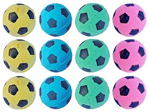PetFavorites Foam Sponge Soccer Ball Cat Toy Interactive Cat Toys Independent Pet Kitten Cat Exrecise Toy Balls for Real Cats Kittens, Soft, Bouncy and Noise Free (12 Pack)