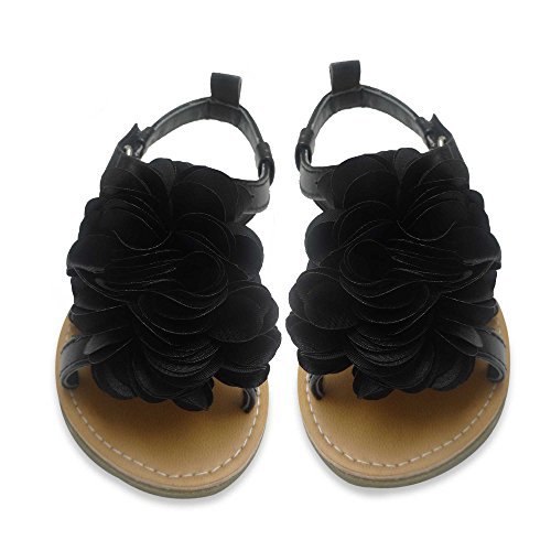 Rising Star Sandals With Black Flower Size 7T [3012]