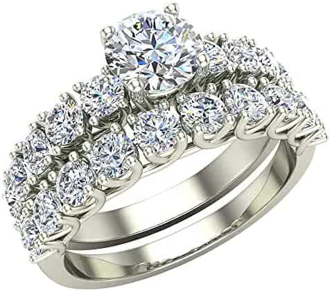 Trellis Round Diamond Wedding Ring Set 2.00 ctw 14K Gold (J,I1)