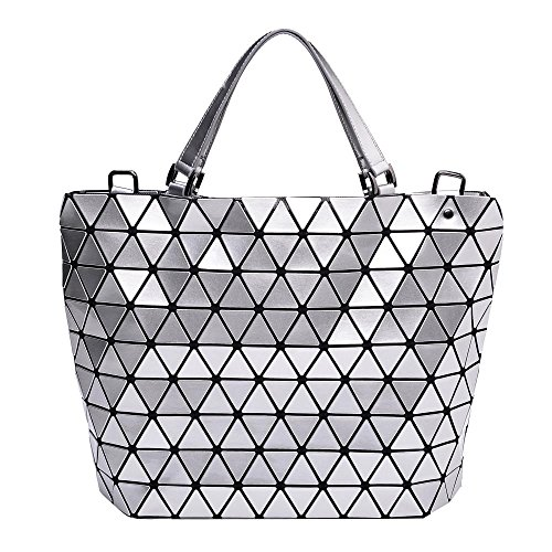 Silver Diamond Lattice Handbag for Women - Gloss Convertible Shoulder Tote Bag with Adjustable Handles - PU Leather Fashionable & Tote Bag Purse for Party, Wedding & Causal Use by Draizee by Draizee
