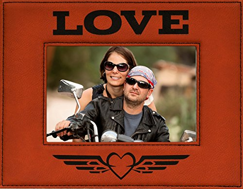 Harley Davidson Photo Frames (LOVE ~ Eagle Winged Heart Engraved Faux Leather Picture Frame ~ Valentine's Day Gift, Birthday, Anniversary, Wedding, Christmas, Family, In Memory of, Harley Davidson Picture Frame (4 x 6))