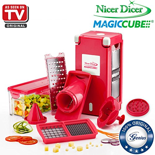 Nicer Dicer Magic Cube by Genius | 13 pieces | Fruit and vegetable slicer | As seen on TV (Red)