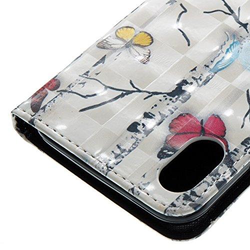 Vandot PU Funda Flip Case para iPhone X / iPhone10 Caso de Cuero con la Función del Soporte Pintado Cubierta Caja Protectora de la Teléfono para móvil iPhone X / iPhone 10 5.8 + 1x Metal Stylus Pen + DZCH3-5