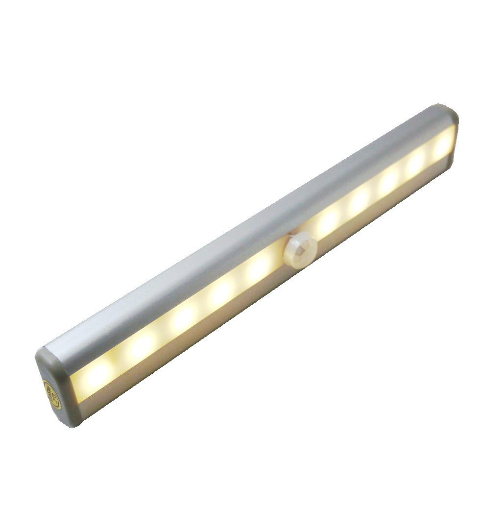 BLISS - Nueva batería Operado blanco cálido sub-luz del gabinete con el PIR de infrarrojos IR Wireless Sensor de movimiento, ideal para closet, Sub-gabinete ...