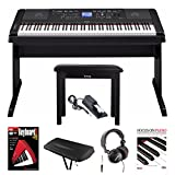 Yamaha DGX-660 88 Weighted Keys Piano with Knox Piano Bench, Headphones, Sustain Pedal Dust Cover, Book & DVD