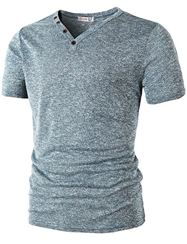 (H2H Mens Casual Slim Fit Designed Button Neck-line T-Shirt Blue US XL/Asia 2XL (CMTTS0195))