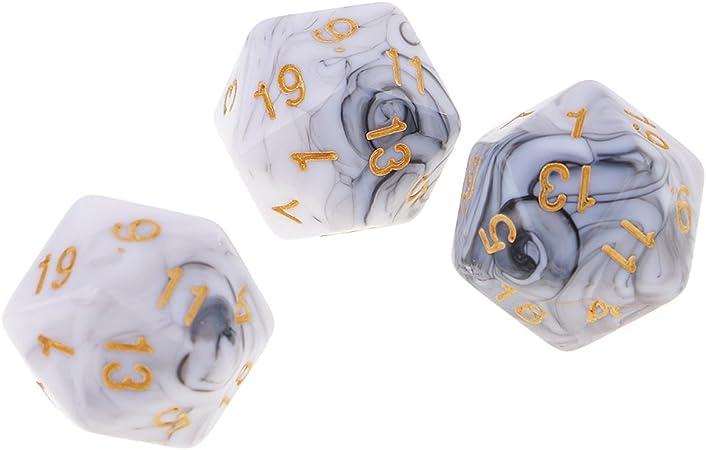 Blanc Gris Sharplace 10pcs D/és Chiffres 20 Faces Dice D20 Accessoires pour Jeux de R/ôle Bar Club