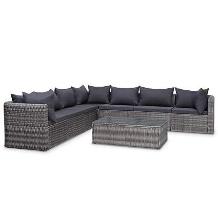 Sensational Amazon Com Vidaxl 8 Piece Garden Lounge Set With Cushions Andrewgaddart Wooden Chair Designs For Living Room Andrewgaddartcom
