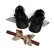oklady Toddler Baby Boy Girls Denim Bow Knot Sandals First Walker Shoes (0-6 Months, Black 2)
