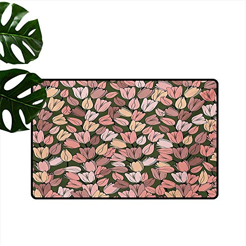 carmaxs MATRUGS Pet Mat Machine Washable, Flower Indoor Out-Imdoor Rugs for Living Room (Coral Cocoa Cream, 30 X 40 Inches)