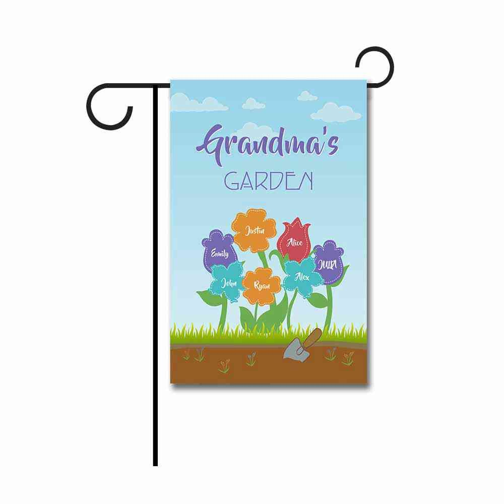"KafePross Custom Grandma's Garden for Outside Flag Featuring The Names of Her Children and Grandchildren 12.5""X18"" Print Both Sides"