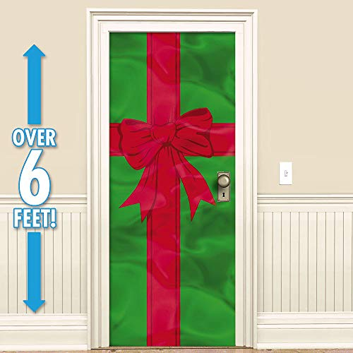 """Amscan Holiday Decor Foil Door Decoration - Red and Green - 78"""" x 36"""" size"""