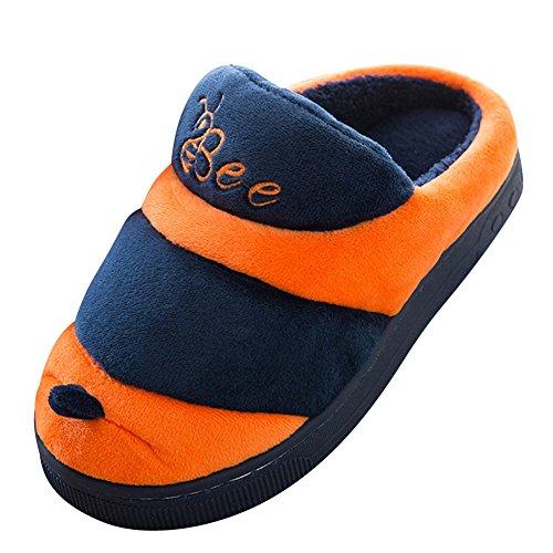 Slipper Intérieure Unisexe Bee Peluche Chaussons Orange Chaud Chaussons Hiver Confortable Shoes qUawzU