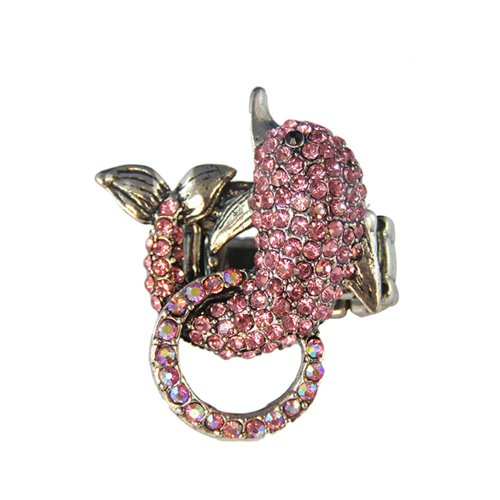 Twinkle Crystal Metal Ring - Dolphin (Pink) (Child Dolphin Costume Homemade)