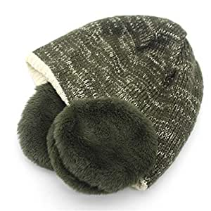 Hat Fashion Unisex Autumn Winter Thickened Warm Knitted Hat Earmuffs Soft Cotton Cap for Young Girls Fashion Accessories (Color : Green)