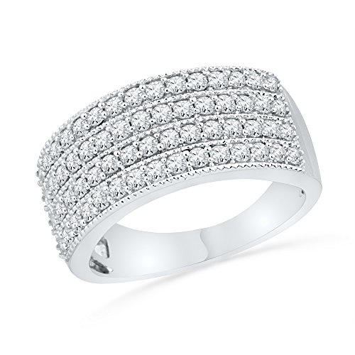 (10k White Gold Round Diamond Cocktail Band Anniversary Ring Milgrain Wide Four Row Fancy 1.00 ctw Size 8.5)