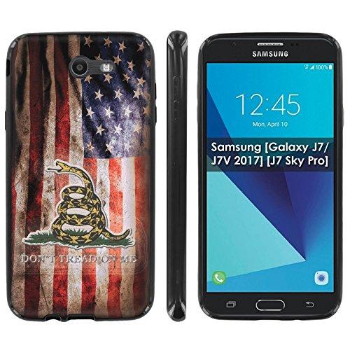 Samsung [Galaxy J7/J7V[2017]/Prime/Perx/Sky Pro/Halo] Silicone Case [Case86] [Black] Gel Gummy Phone Case Phone Cover - [Flag Distress] for ZTE Z959 [5.5