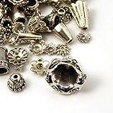 50g Antique Silver Bali Tibetan Style Bead Caps Mix Bulk Assortment for Jewelry Making