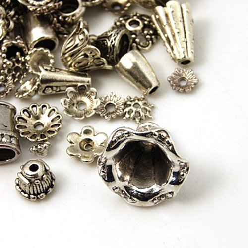Pewter Antique Silver Bead Caps & Cones Mixed Bulk Assortment For Jewelry Making ()