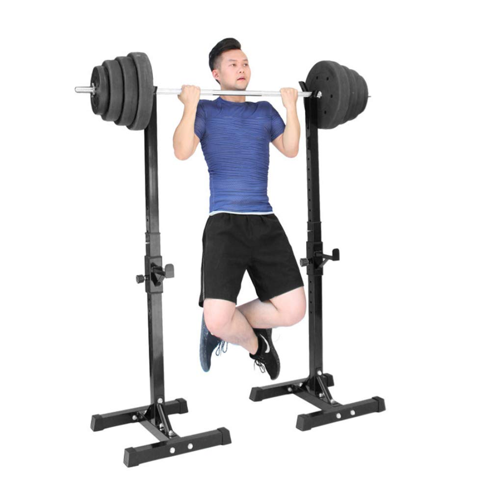 Squat Rack Split Weight Barbell Rack Multi-Function Adjustable for Home Gym Squat Strength Training,Black,Small