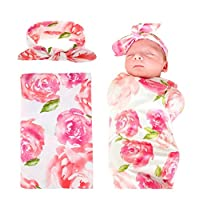 Swaddle,Swaddle Blanket,Receiving Blankets and Headband Set for Newborn Baby ...