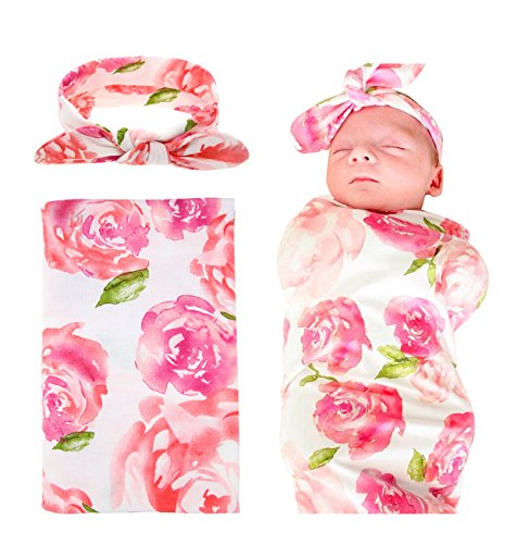Quest Sweet Newborn Baby Swaddle Blanket and Headband Value Set,Receiving - Baby Cocoon
