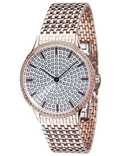 Yves Camani Garonne Women's Wrist Watch Quartz Analog Stainless Steel Rosegold Silver Dial