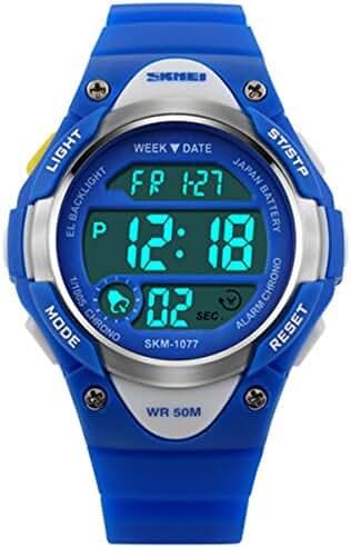 Wdnba Kids Watches Outdoor Sports Children Watch Stopwatch Kids Boy Girls LED Digital Alarm Wristwatch Blue