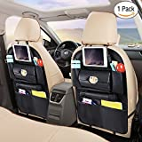 Car Back Seat Organizer, Ohuhu 1 Pack Backseat Organizer with 7 Large Pockets for Baby Travel Accessories, PU Leather Auto Seat Back Kick Mats for Kids, Backseat Protector Storage Bag